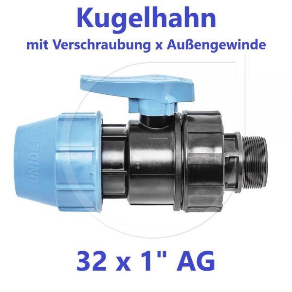 """UNIDELTA Klemmverbinder Kugelhahn Klemm x Außengewinde 32mm x 1"""" AG"""
