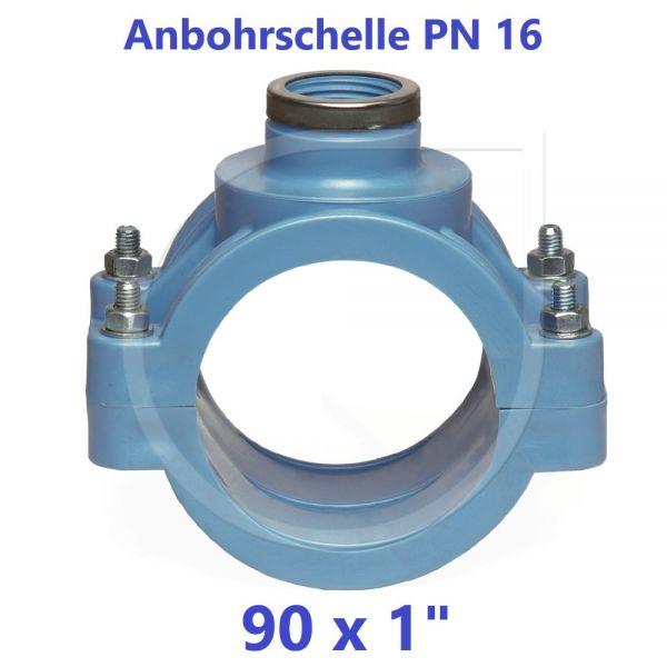 """UNIDELTA Anbohrschelle mit Verstärkung PN16 Blau 90 x 1"""""""
