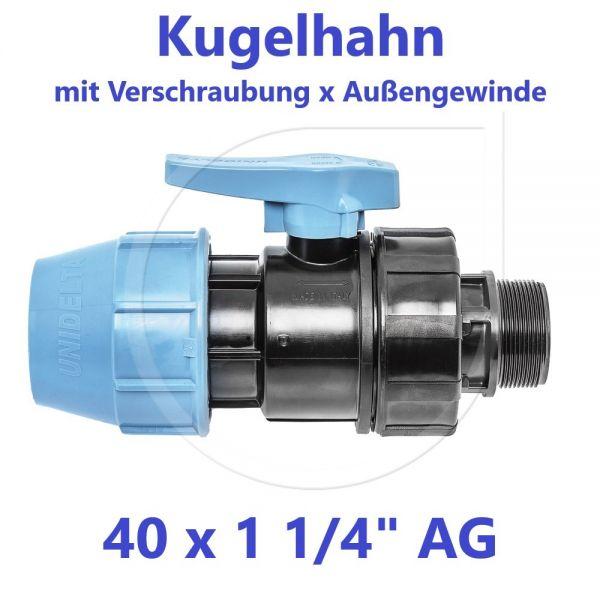"""UNIDELTA Klemmverbinder Kugelhahn Klemm x Außengewinde 40mm x 11/4"""" AG"""
