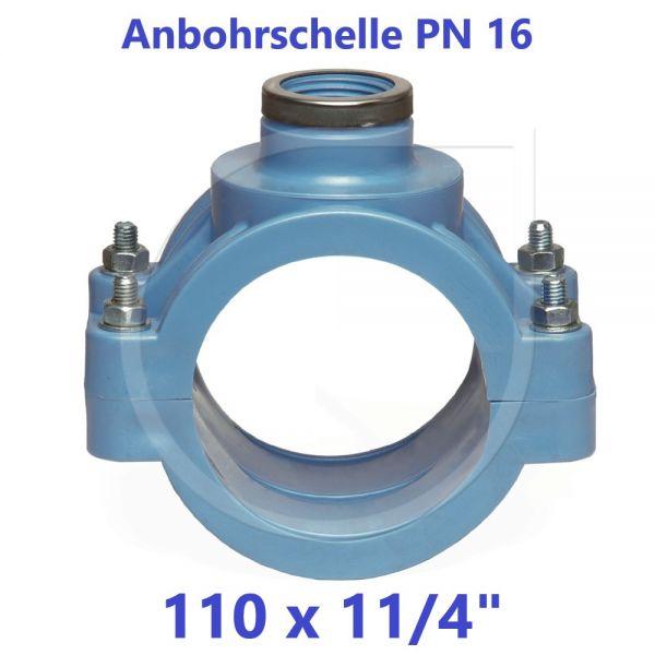 """UNIDELTA Anbohrschelle mit Verstärkung PN16 Blau 110 x 11/4"""""""