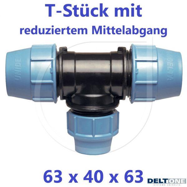 UNIDELTA Klemmverbinder  T-Stück 90° reduziert 63 x 40 x 63 DeltOne