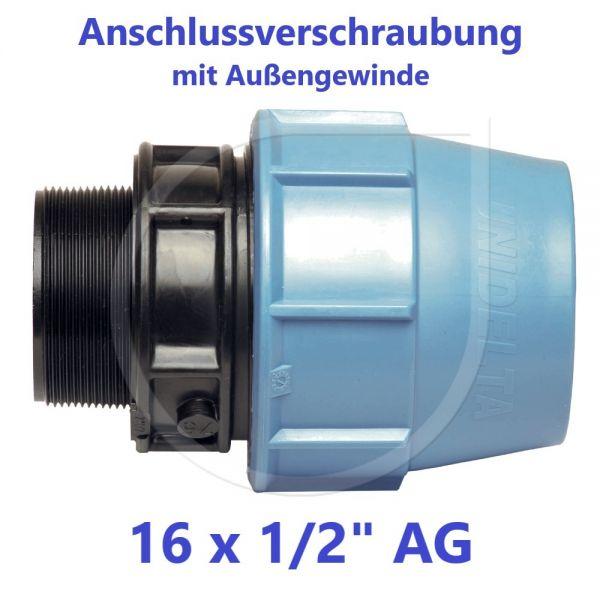"""UNIDELTA Klemmverbinder Anschlussverschraubung mit Außengewinde 16 x 1/2"""""""