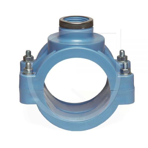 Blaue Anbohrschelle PN 16 mit Verstärkung (DVGW)