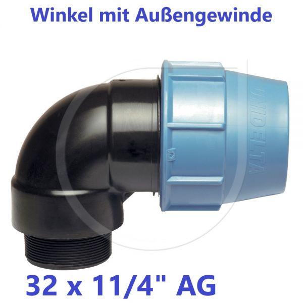 """UNIDELTA Klemmverbinder Winkel mit Außengewinde 32 x 11/4"""""""