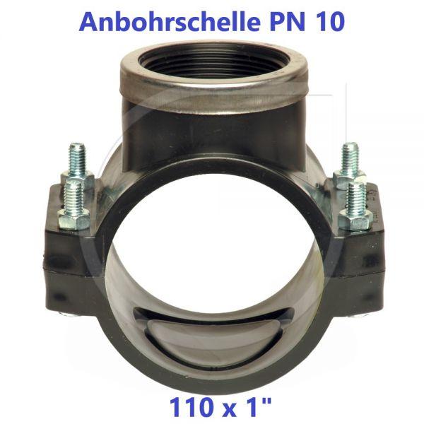 """Schwarze Anbohrschelle mit Verstärkung (PN10) 110 x 1"""" Innengewinde"""