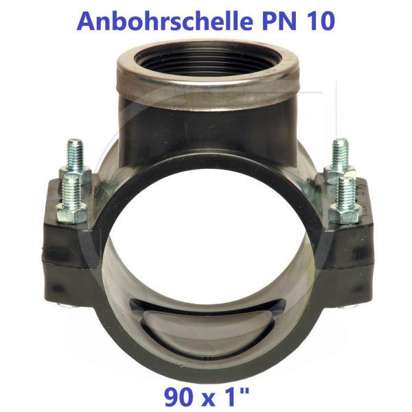 """Schwarze Anbohrschelle mit Verstärkung (PN10) 90 x 1"""" Innengewinde"""