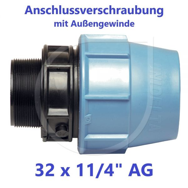 """UNIDELTA Klemmverbinder Anschlussverschraubung mit Außengewinde 32 x 11/4"""""""