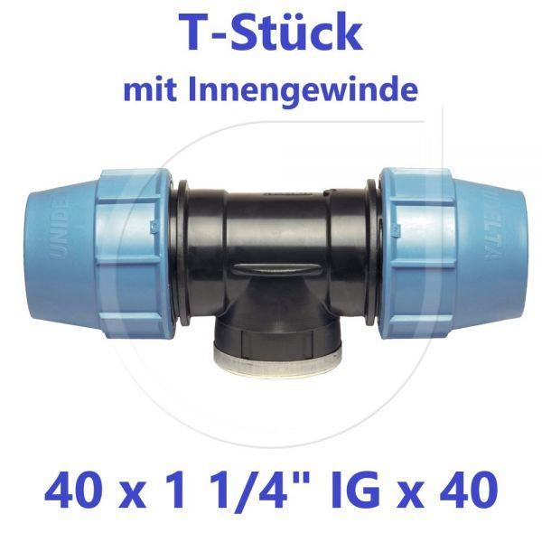 """UNIDELTA Klemmverbinder T-Stück mit Innengewinde 40 x 11/4"""" x 40"""