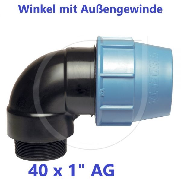 """UNIDELTA Klemmverbinder Winkel mit Außengewinde 40 x 1"""""""
