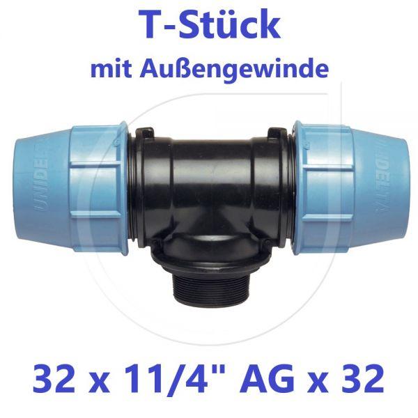 """UNIDELTA Klemmverbinder T-Stück mit Außengewinde 32 x 1 1/4"""" x 32"""