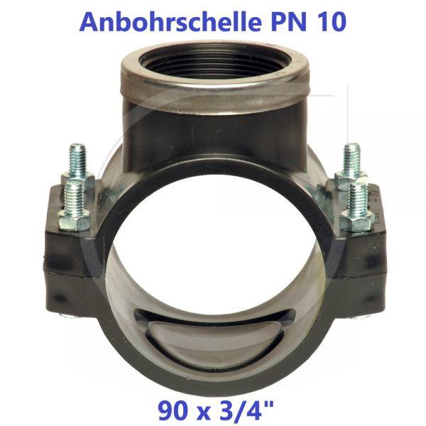 """Schwarze Anbohrschelle mit Verstärkung (PN10) 90 x 3/4"""" Innengewinde"""