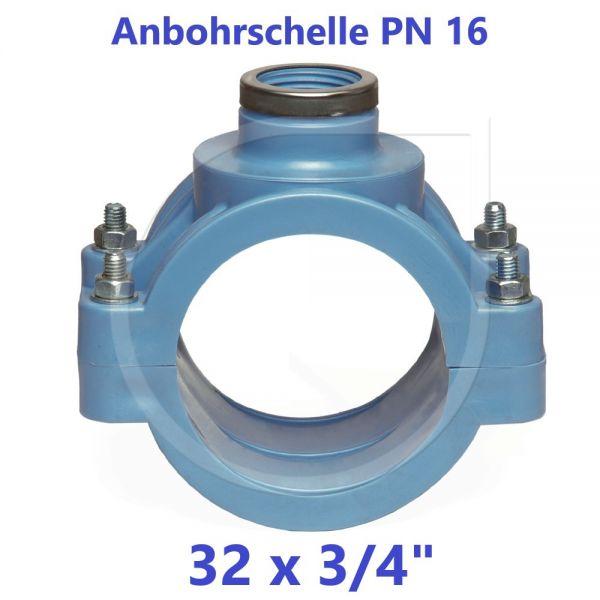 """UNIDELTA Anbohrschelle mit Verstärkung PN16 Blau 32 x 3/4"""""""