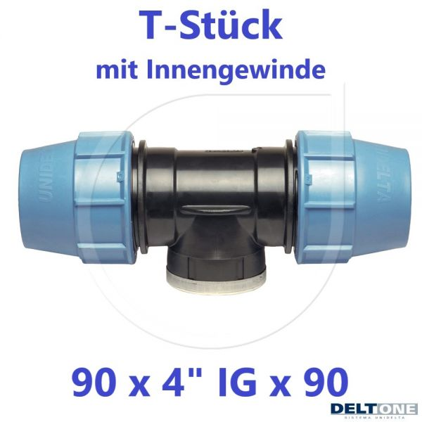 """UNIDELTA Klemmverbinder T-Stück mit Innengewinde 90 x 4"""" x 90 DeltOne"""