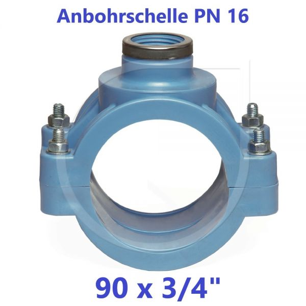"""UNIDELTA Anbohrschelle mit Verstärkung PN16 Blau 90 x 3/4"""""""