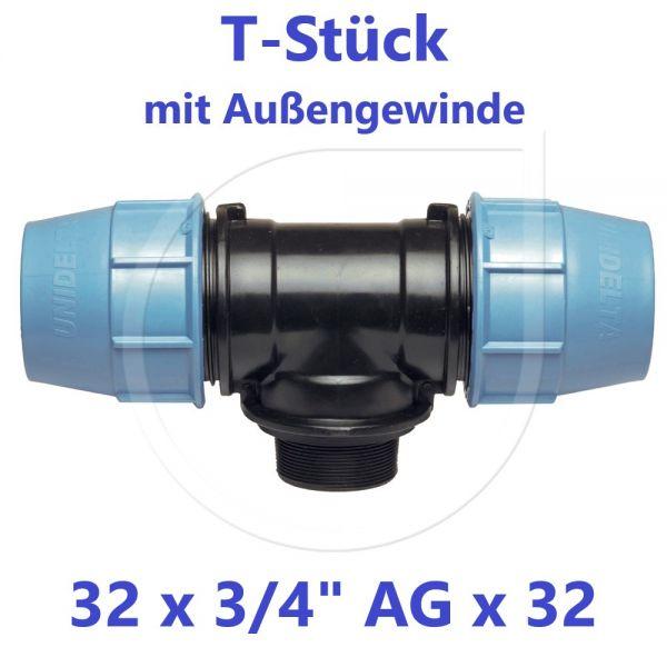"""UNIDELTA Klemmverbinder T-Stück mit Außengewinde 32 x 3/4"""" x 32"""