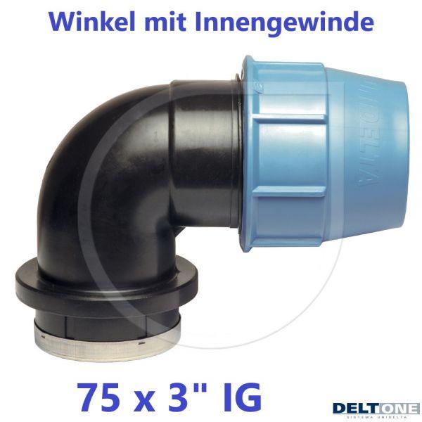 """UNIDELTA Klemmverbinder Winkel mit Innengewinde 75 x 3"""" DeltOne"""