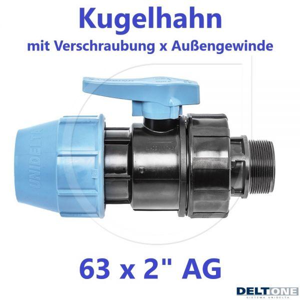 """UNIDELTA Klemmverbinder Kugelhahn Klemm x Außengewinde 63mm x 2"""" AG Deltone"""