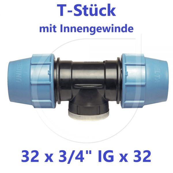 """UNIDELTA Klemmverbinder T-Stück mit Innengewinde 32 x 3/4"""" x 32"""